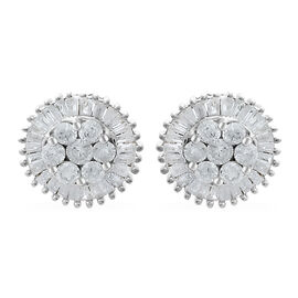 9K White Gold SGL Certified Diamond (Rnd) (I3/G-H) Stud Earrings (with Push Back) 1.000 Ct.