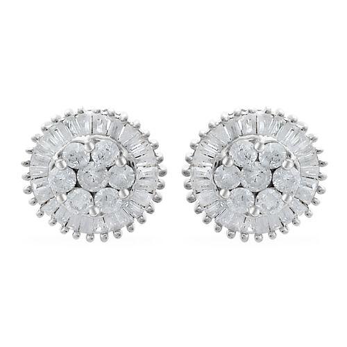 9K White Gold SGL Certified Diamond (Rnd) (I3/G-H) Stud Earrings (with Push Back) 1.000 Ct.