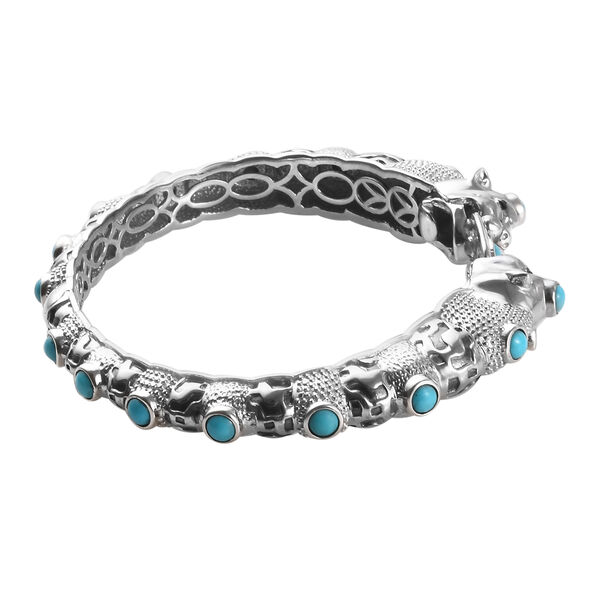 Arizona Sleeping Beauty Turquoise (Ovl and Rnd) Double Panther Head Bangle (Size 7.5) in Platinum Overlay Sterling Silver 5.25 Ct, Silver wt 49.00 Gms