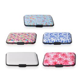 Set of 5 - Cream and Multi Colour Floral Pattern RFID Blocking Water Resistant Card Holders (Size 11x7x2 Cm)