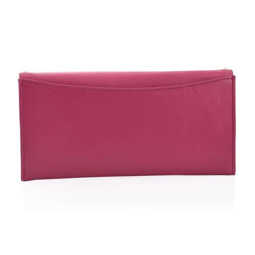 100% Genuine High Glossed Leather Pink Colour RFID Blocker Ladies Wallet (Size 19.5x10 Cm)