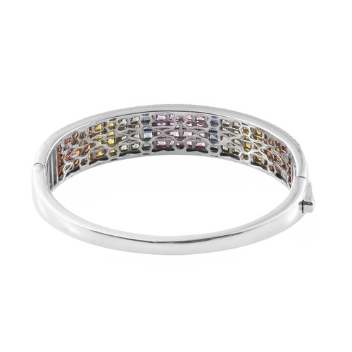 Rainbow Sapphire (Sqr), Natural Cambodian Zircon Bangle (Size 7.5) in Platinum Overlay Sterling Silver 16.000 Ct, Silver wt 35.00 Gms.