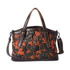 100% Genuine Leather Embossed Floral Pattern Satchel Bag (Siz3 31x9x21cm) - Multi Colour