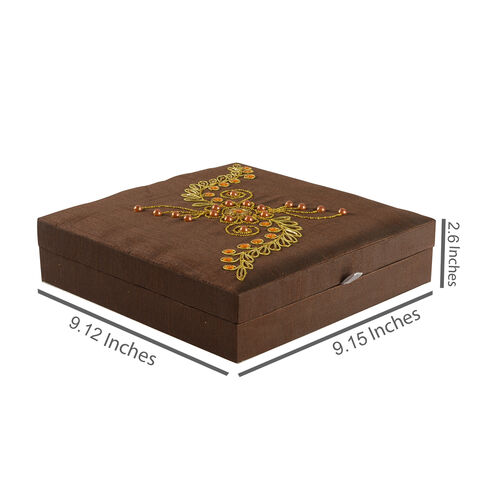 Zardosi Hand Embroidered Chocolate Colour 100 Slot Ring Box (Size 25.5X25.5X6 Cm)