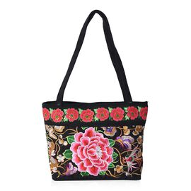 SHANGHAI  COLLECTION - Embroidered Floral Pattern Tote Bag with Zipper Closure and External Zipper P