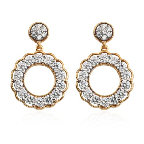 J Francis - 14K Gold Overlay Sterling Silver Drop Earrings (with Push Back) Made with SWAROVSKI ZIRC
