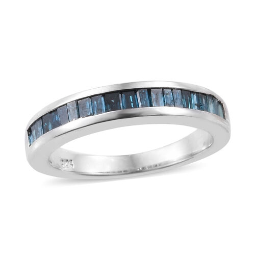 0.50 Carat Blue diamond Half Eternity Ring in Platinum Plated Sterling Silver SGL Certified I3 GH