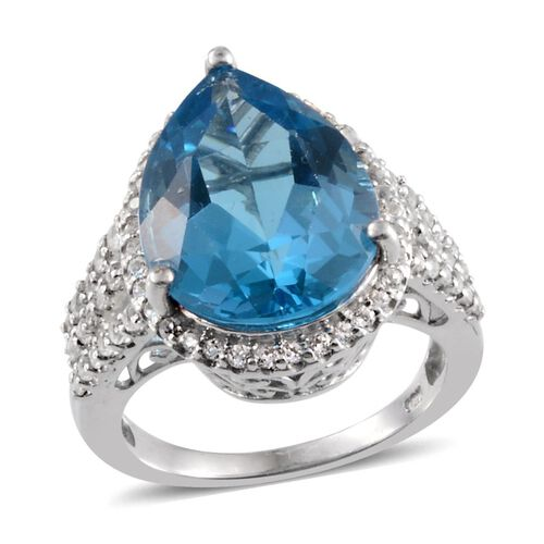 13 Ct Electric Swiss Blue and White Topaz Halo Ring in Platinum Plated Sterling Silver 5.75 Grams