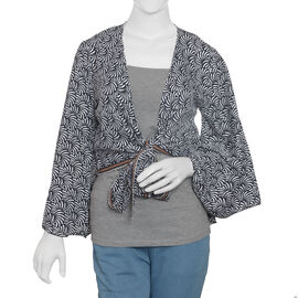 Spring Special Black Abstract Printed Long Sleeve Top Size one