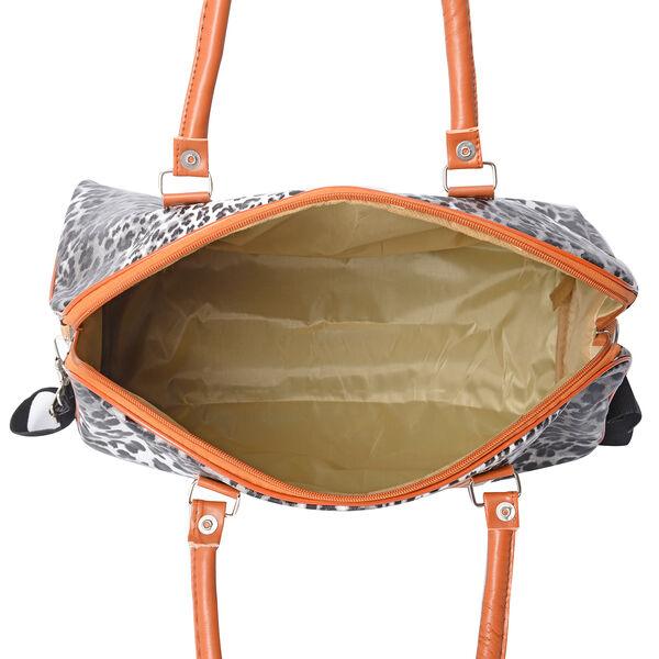 White and Black Colour Leopard Pattern Water Resistant Weekend Bag (Size 43x16x38 Cm) with Detachable Shoulder Strap