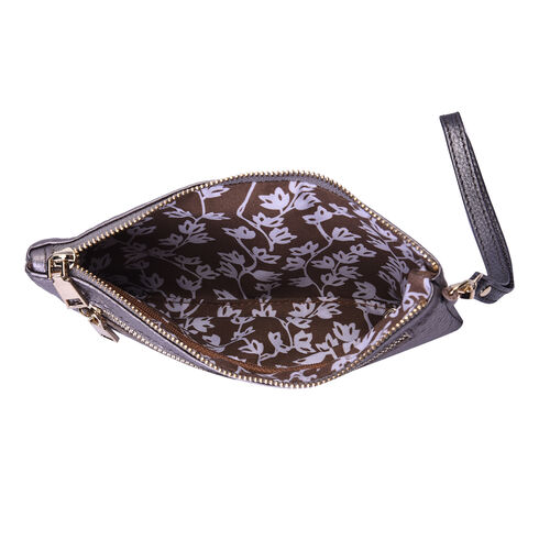 SENCILLEZ Genuine Leather RFID Protected Snake Skin Embossed Wristlet (19x11cm) - Metallic/Silver