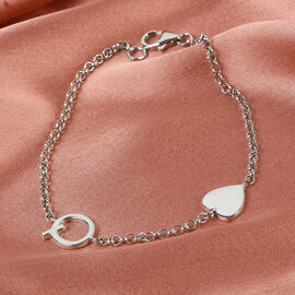 Personalise Single Alphabet + Heart, Name Bracelet in Silver, Size - 7.5 Inch