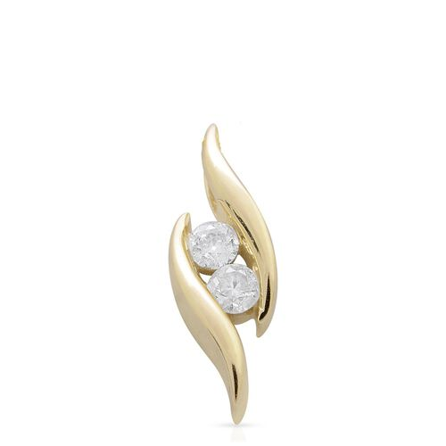 9K Yellow Gold 0.20 Ct Diamond 2 Stone Pendant SGL Certified (I3/G-H)