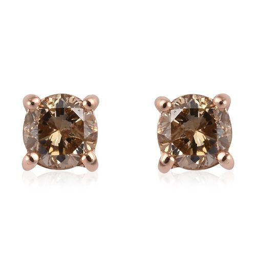 9K Rose Gold SGL Certified Natural Champagne Diamond (I3) Stud Earrings (with Push Back) 0.50 Ct.