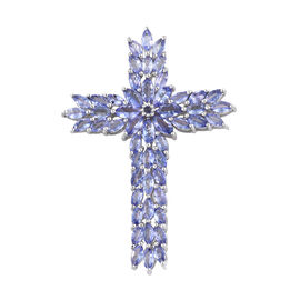Tanzanite (Mrq) Cross Pendant in Platinum Overlay Sterling Silver   7.250 Ct, Silver wt 7.72 Gms.