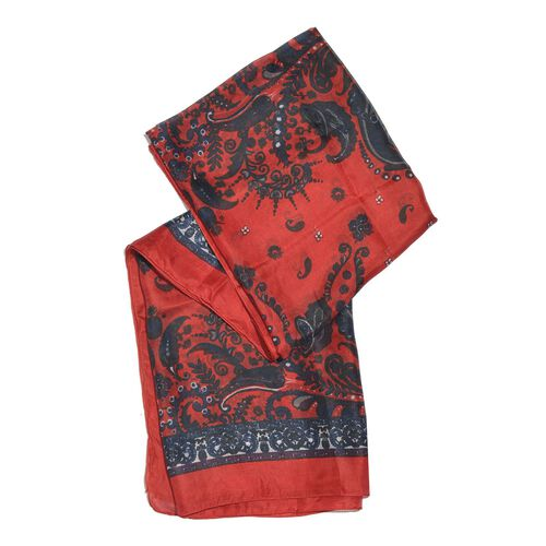 100% Mulberry Silk Red and Blue Colour Handscreen Paisley and Floral Printed Scarf (Size 200X180 Cm)