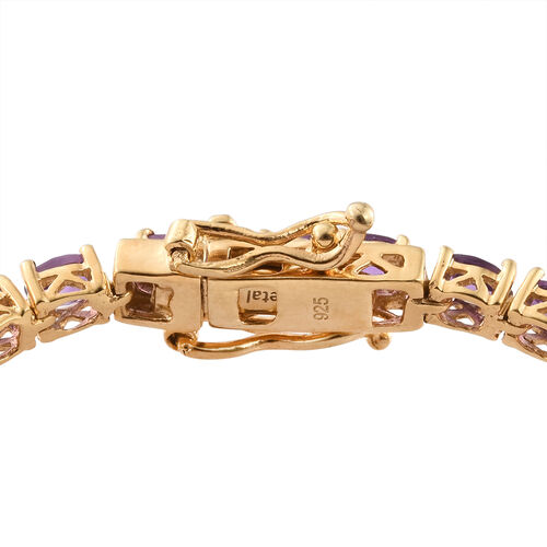 Amethyst (Ovl) Tennis Bracelet (Size 6.5) in 14K Gold Overlay Sterling Silver 6.000 Ct.