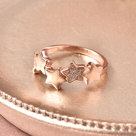 RACHEL GALLEY Natural Cambodian Zircon Stars Ring in Rose Gold Overlay Sterling Sliver