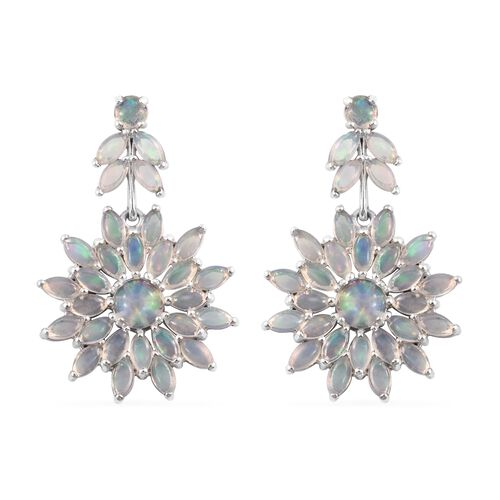 Limited Edition - Ethiopian Welo Opal (Rnd) Floral Earrings (with Push Back) in Platinum Overlay Sterling Silver 6.500 Ct. Silver wt. 8.09 Gms.
