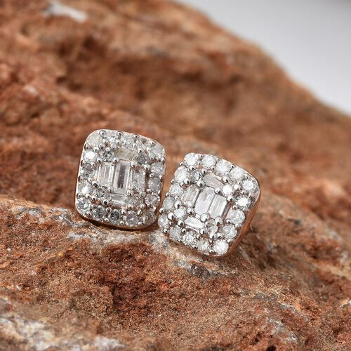 Diamond (Bgt & Rnd) Earrings (with Push Back) in Rose Gold Overlay Sterling Silver 0.330 Ct.