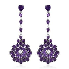 Lusaka Amethyst (Pear), Natural Cambodian Zircon Floral Earrings (with Push Back) in Platinum Overlay Sterling Silver 12.250 Ct.