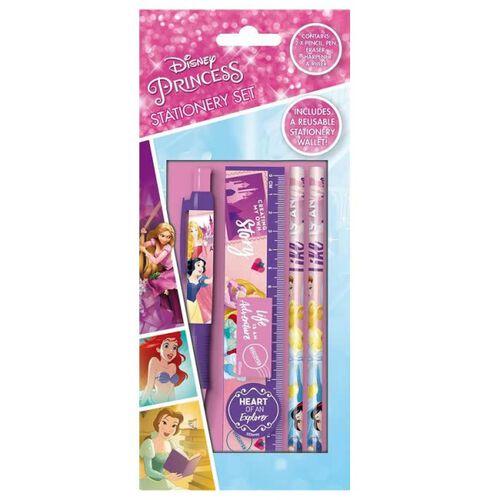 Disney Princess 5 Piece Stationery Set ( Includes Pencils, Eraser, Sharpener, Ruler and Wallet)