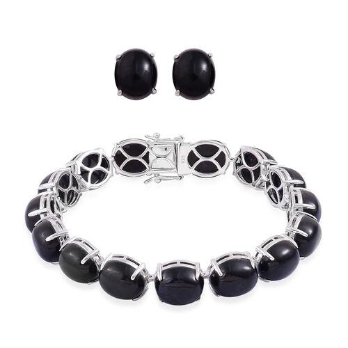Burmese Black Jade (Ovl) Bracelet (Size 7.75) and Stud Earrings (with Push Back) in Platinum Overlay