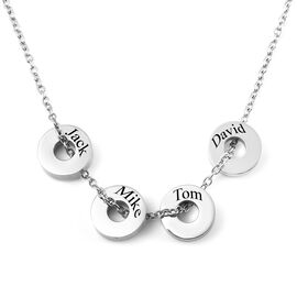 Personalised Engravable 4 Polo Charm Necklace with 20 Inch Chain In Stainless Steel