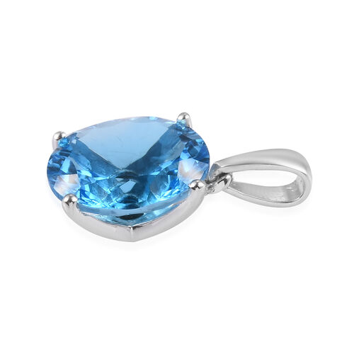 Swiss Blue Topaz Solitaire Pendant in Platinum Overlay Sterling Silver 9.50 Ct.