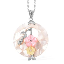 Jardin Collection Inspired - White, Pink and Yellow Shell Pendant With Chain (Size 24)