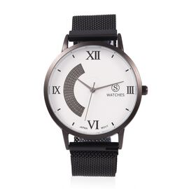 TJC Launch - STRADA Japanese Movement Water Resistant Watch with Stainless Steel Magnetic Strap - Bl