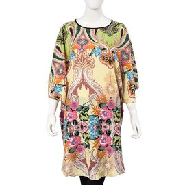 Yellow and Multi Colour Flower Pattern Poncho (One Size Fits All; 75x90 Cm)