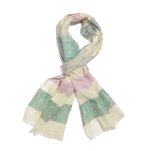 90% Cotton Green, Red, Pink and Multi Colour Stripe Pattern White Colour Jacquard Scarf (Size 180x70 Cm)