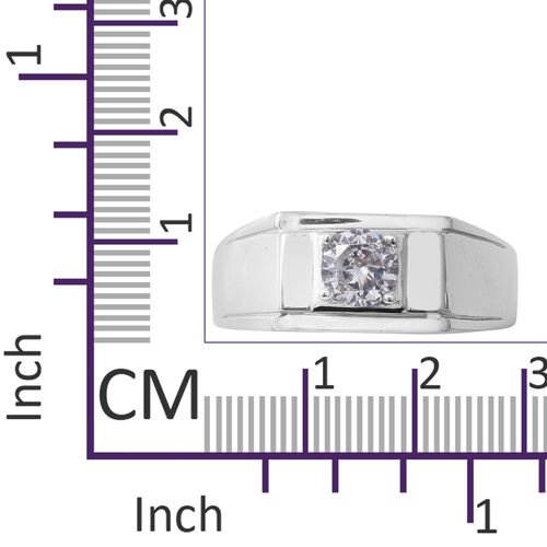 ELANZA Simulated Diamond (Rnd) Solitaire Ring in Rhodium Overlay Sterling Silver, Silver wt 5.00 Gms.