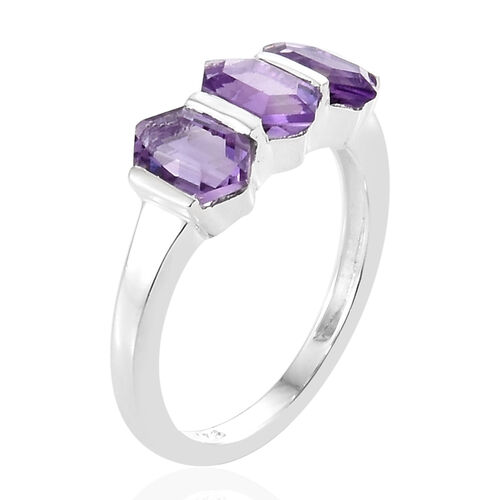 Amethyst (Fancy) Three Stone Ring in Sterling Silver 1.750 Ct.