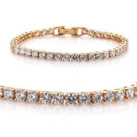 J Francis - 14K Gold Overlay Sterling Silver (Rnd) Tennis Bracelet (Size 7.5) Made with SWAROVSKI ZI