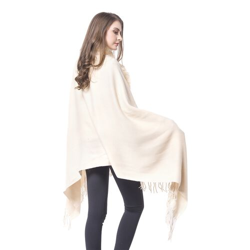 Designer Inspired Faux Fur Trimmed Cape - Cream (One Size)