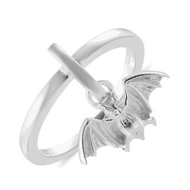 Sterling Silver Band Ring with Bat Charm, Silver wt 3.07 Gms.