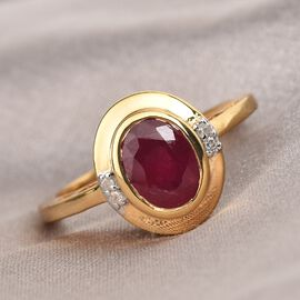 Pink Ruby and White Diamond Ring in 14K Gold Overlay Sterling Silver 1.79 Ct.