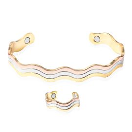 2 Piece Set Wave Pattern Adjustable Copper Cuff Bangle and Ring with Magnets