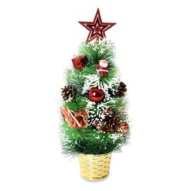 Home Decor - Potted Christmas Tree with Accessories (H- 41 Cm) - Green and Red