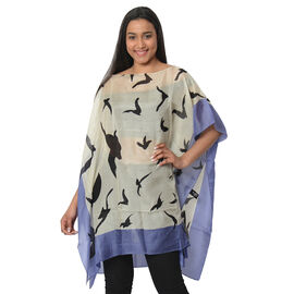 100% Mulberry Silk Kaftan One Size (90x100 Cm) - Cream and Black