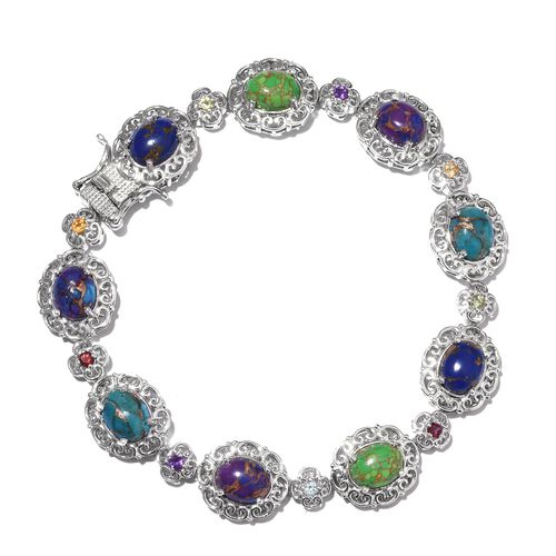 Close Out Deal-Mojave Blue, Purple, Green Turquoise (Ovl), and Multi Gem Stone Bracelet (Size 8.00) in Platinum Overlay Sterling Silver 14.000 Ct.Silver Wt 20.00 Gms