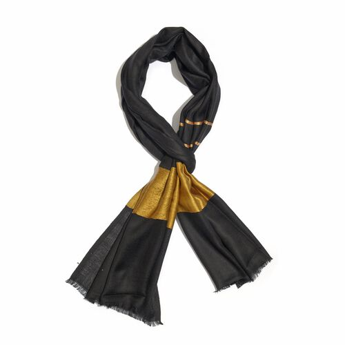 100% Cashmere Wool Black and Golden Colour Shawl (Size 200x70 Cm)