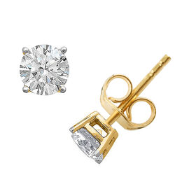 New York Close Out Deal 1 Carat Solitaire Stud Earrings in 18K Gold IGI Certified Diamond SI H
