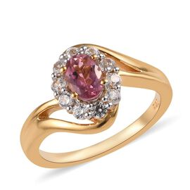 Vintage Style - Pink Tourmaline (Ovl), Natural Cambodian Zircon Ring in 14K Gold Overlay Sterling Si