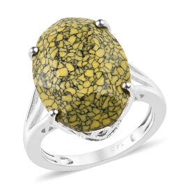 J Francis MRB Yellow Crystal from Swarovski Solitaire Ring in Silver