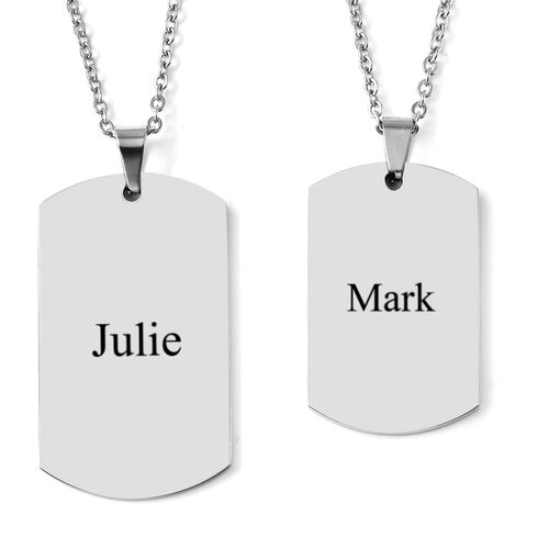 Personalise Engraveable His and Her Dog tags in Stainless Steel