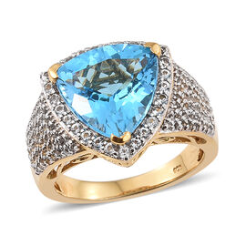 9 Ct Marambaia Topaz and White Topaz Cluster Halo Ring in Gold Plated Silver 7.19 Grams