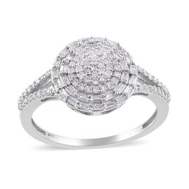 0.50 Ct Diamond Cluster Ring in 9K White Gold SGL Certified I3 GH
